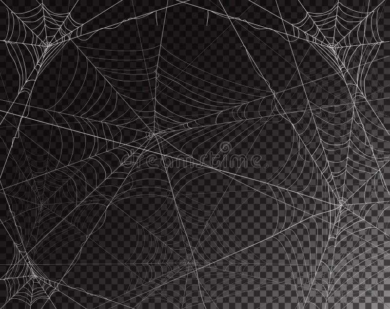 Fundo transparente preto para Dia das Bruxas com spiderwebs ilustração do vetor