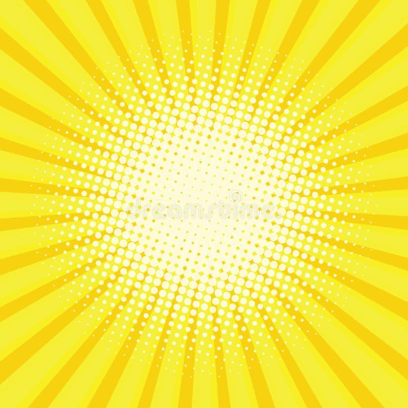 Fundo traseiro colorido amarelo do estilo do pop art ilustração royalty free