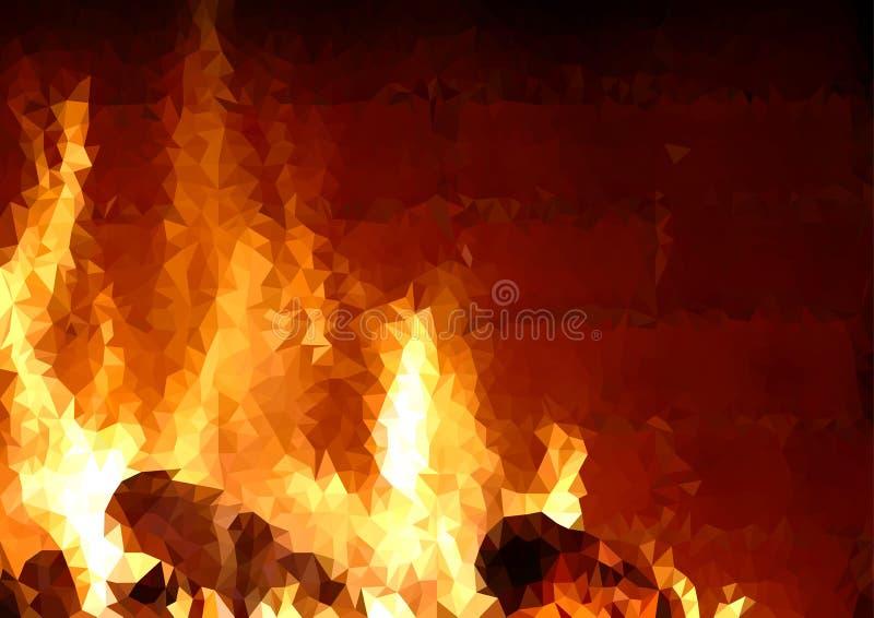 Fundo triangular da grade com teste padrão do fogo ilustração stock