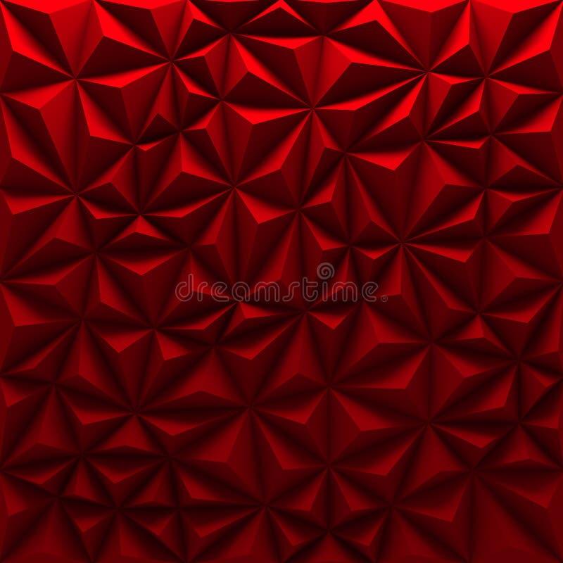 Fundo triangular poligonal baixo-poli abstrato vermelho do mosaico ilustração do vetor