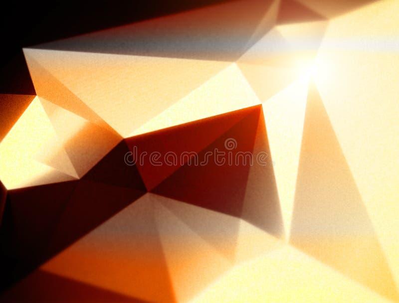Fundo triangular poligonal geométrico alaranjado fotografia de stock