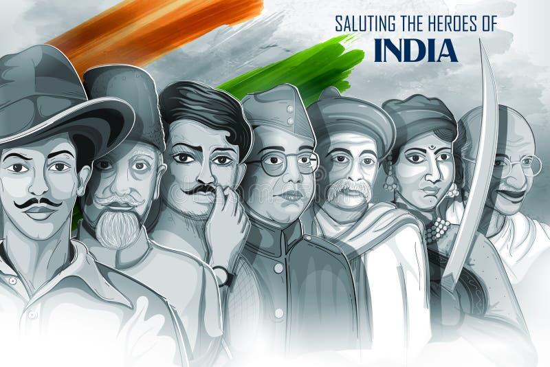 Fundo Tricolor da Índia com herói da nação e lutador da liberdade para o Dia da Independência ilustração do vetor