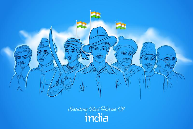 Fundo Tricolor da Índia com herói da nação e lutador da liberdade para o Dia da Independência ilustração royalty free