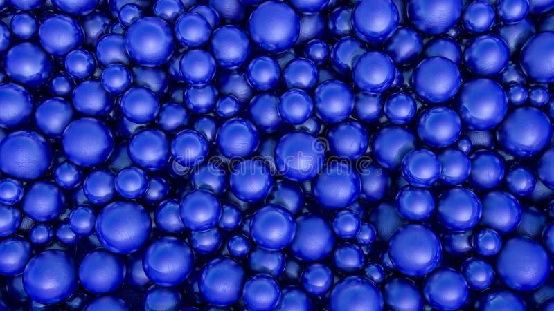 Fundo tridimensional abstrato de esferas azuis com textura 3d rendem ilustração do vetor