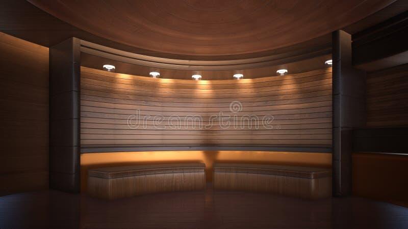 Fundo tridimensional da cor para a rendição de madeira do estúdio 3d da tevê ilustração royalty free