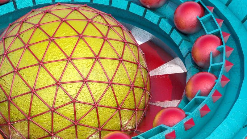 Fundo tridimensional futurista do sumário das formas 3d diferentes 3d rendem ilustração stock