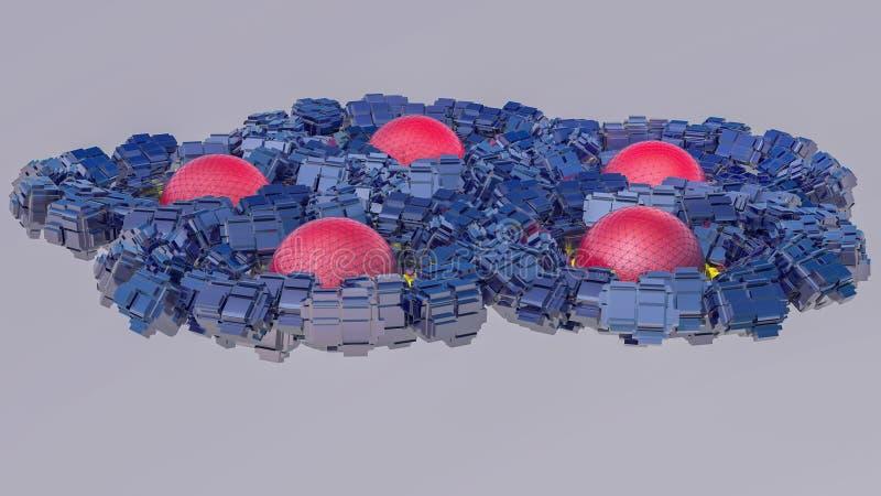 Fundo tridimensional futurista do sumário das formas 3d diferentes 3d rendem ilustração do vetor