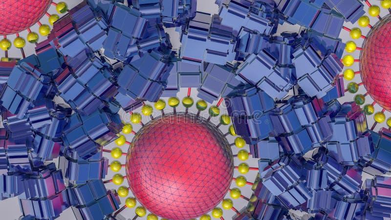 Fundo tridimensional futurista do sumário das formas 3d diferentes 3d rendem ilustração royalty free