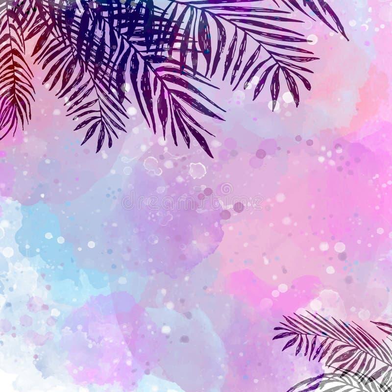 Fundo tropical azul cor-de-rosa na moda, folhas, palma de coco ilustração royalty free