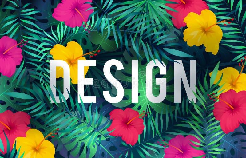 Fundo tropical brilhante As folhas de palmeira exóticas das plantas da selva do teste padrão florescem o cartão havaiano da arte  ilustração stock