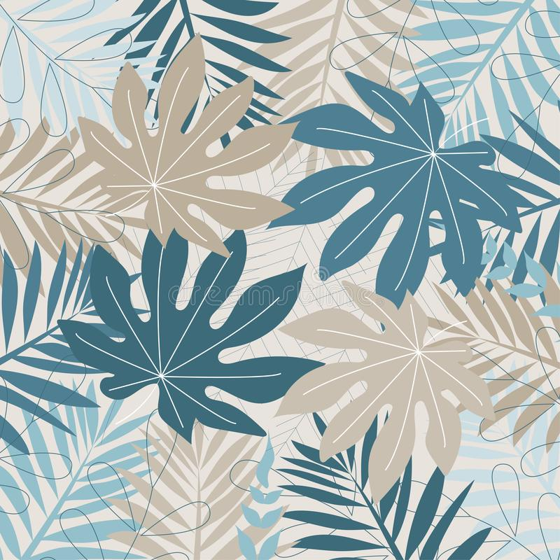 Fundo tropical colorido com flores e folhas Projeto do vetor C?pia lisa da selva ilustração royalty free