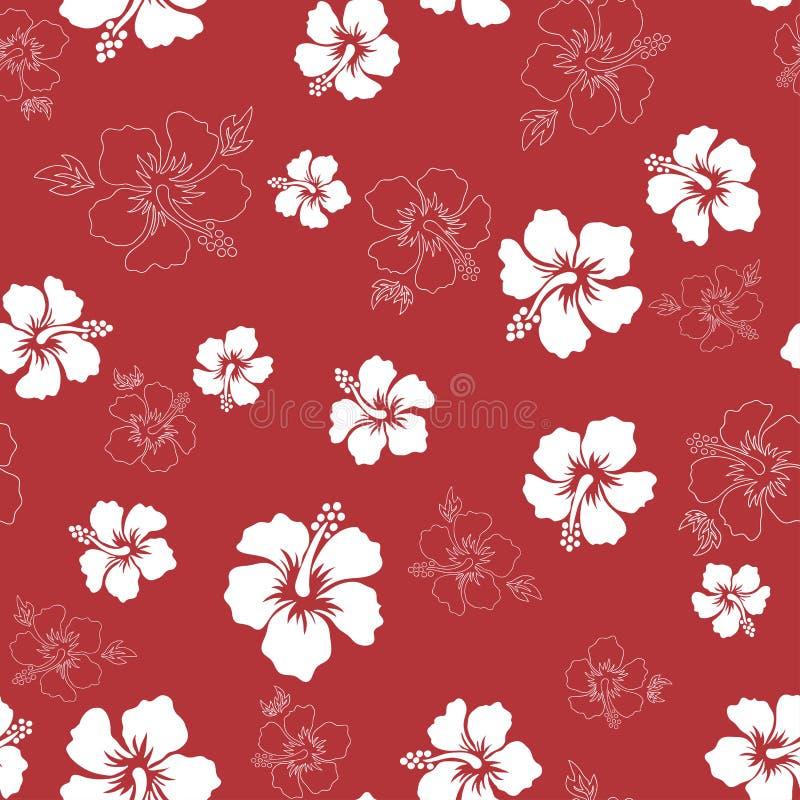 Fundo tropical com flores do hibiscus Teste padr?o havaiano sem emenda foto de stock royalty free