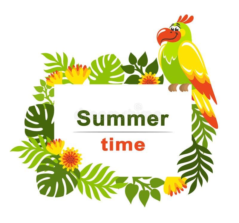 Fundo tropical com folhas de palmeira, as flores exóticas e o papagaio colorido ilustração royalty free