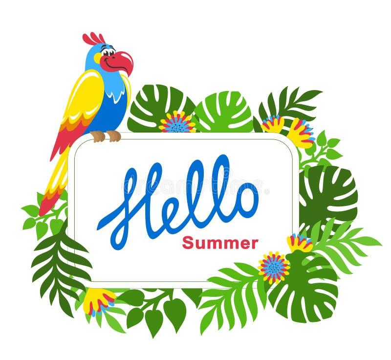 Fundo tropical com folhas de palmeira, as flores exóticas e o papagaio colorido ilustração stock