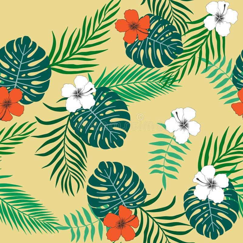 Fundo tropical com folhas de palmeira e flores Flora sem emenda ilustração stock