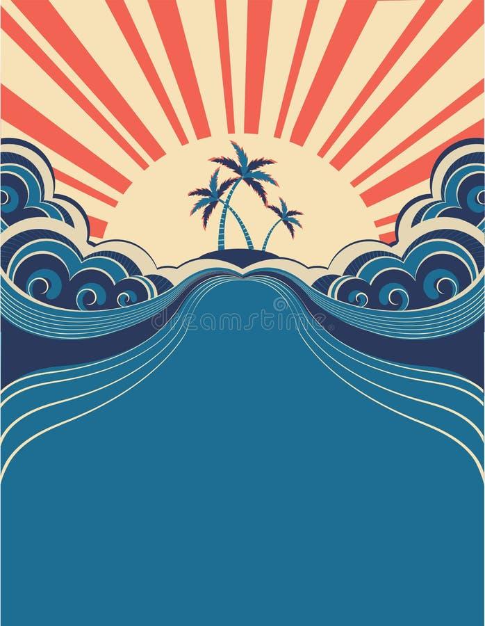 Fundo tropical com palmas ilustração royalty free