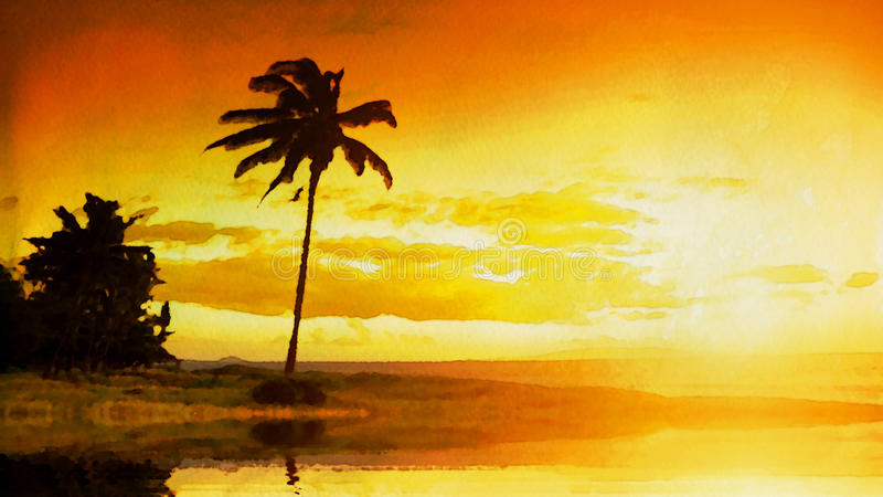 Fundo tropical da aquarela do por do sol ilustração do vetor