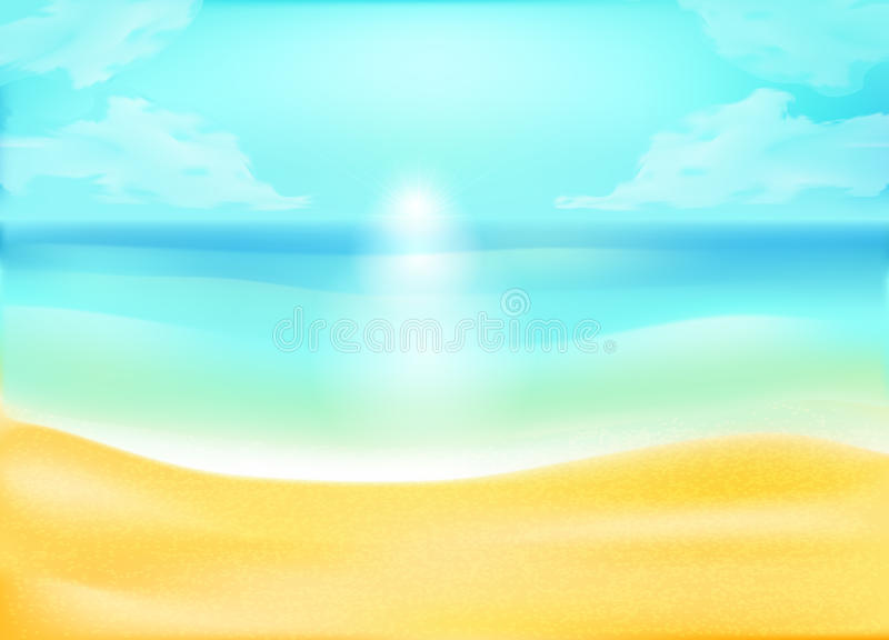 Fundo tropical da areia e da praia do oceano ilustração stock