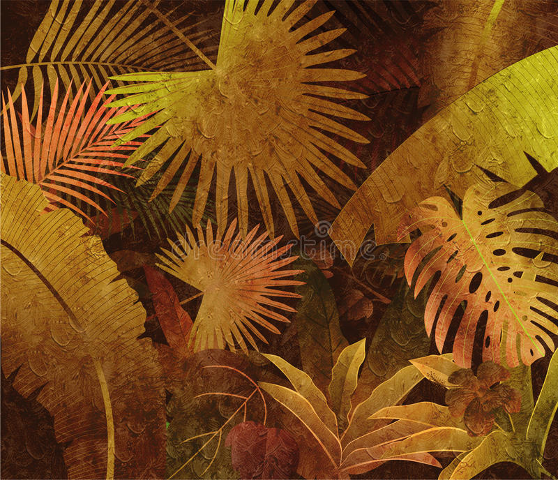 Fundo tropical da pintura a óleo da floresta úmida fotos de stock royalty free