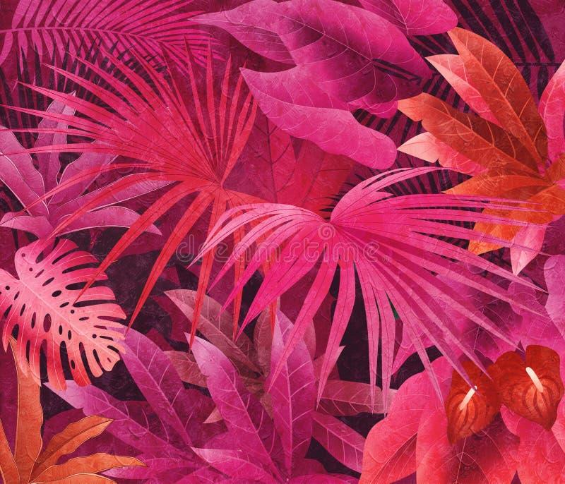 Fundo tropical da pintura a óleo da floresta úmida fotografia de stock