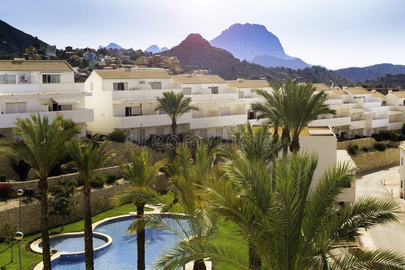 Fundo tropical da piscina, das montanhas e das palmas fotografia de stock royalty free