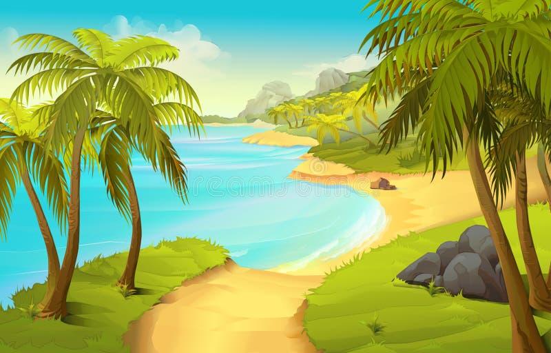 Fundo tropical da praia ilustração royalty free