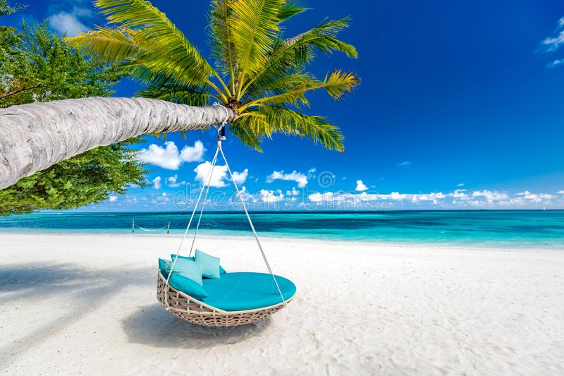 Fundo tropical da praia como a paisagem do verão com balanço da praia ou o mar do rede e o branco do areia e o calmo para a bande fotos de stock royalty free