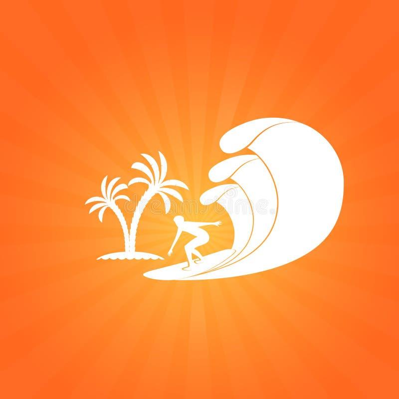 Fundo tropical da praia do entalhe de papel com surfista ilustração do vetor