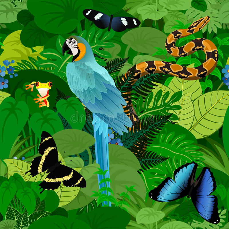 Fundo tropical da selva da floresta úmida do vetor sem emenda com o papagaio, o pitão e as borboletas do makaw das aros ilustração do vetor