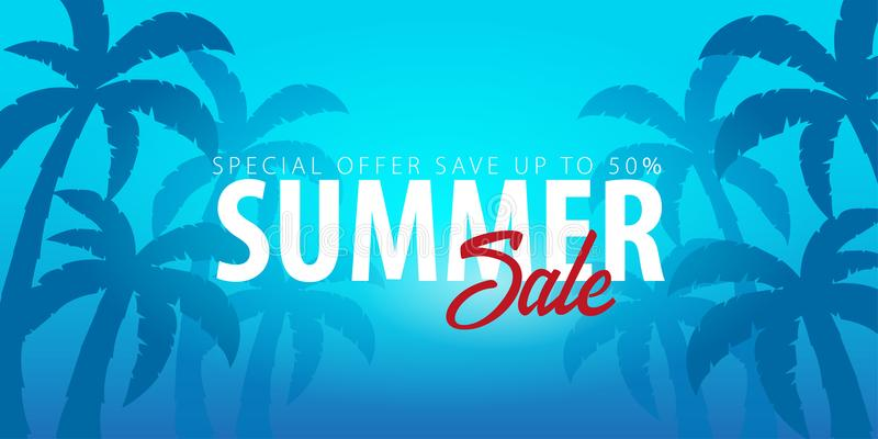 Fundo tropical da venda do verão com palmas e por do sol Cartão do convite do inseto do cartaz do cartaz do verão Adultos novos V ilustração do vetor