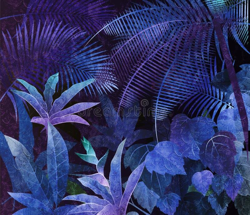 Fundo tropical do azul da pintura a óleo da floresta úmida foto de stock royalty free