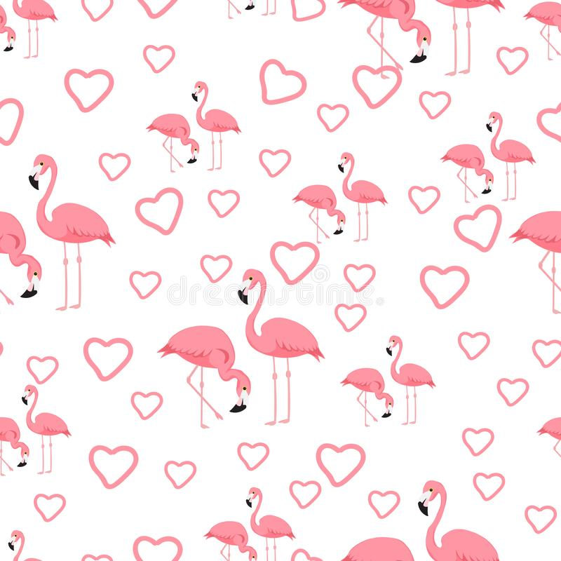 Fundo tropical do flamingo do pássaro - vetor sem emenda do teste padrão ilustração do vetor