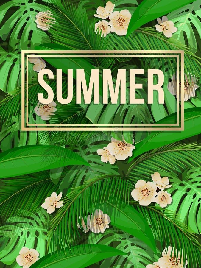 Fundo tropical do teste padrão da folha do verão com texto ilustração stock