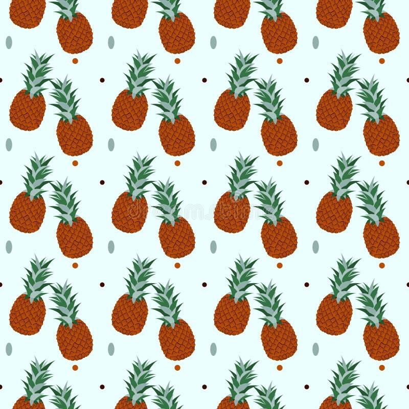 Fundo tropical dos abacaxis - teste padrão sem emenda do ananás - no vetor ilustração royalty free