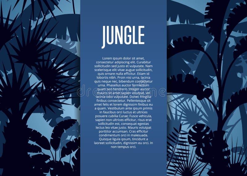 Fundo tropical profundo do vetor da selva ilustração royalty free