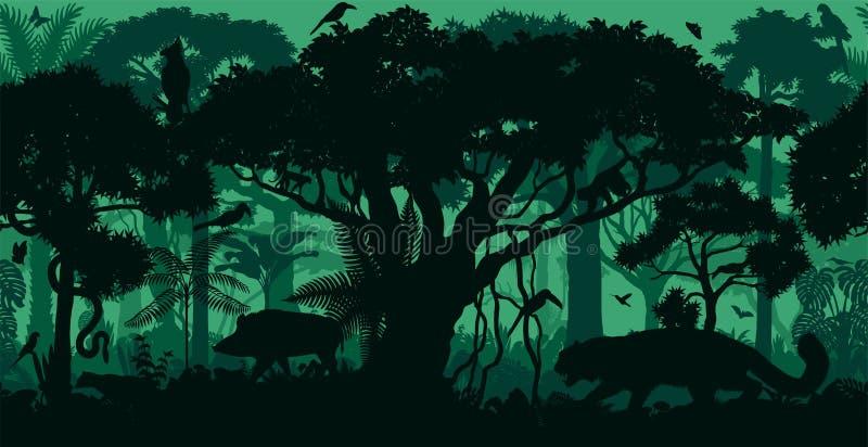 Fundo tropical sem emenda horizontal da floresta da selva da floresta úmida do vetor com animais ilustração stock