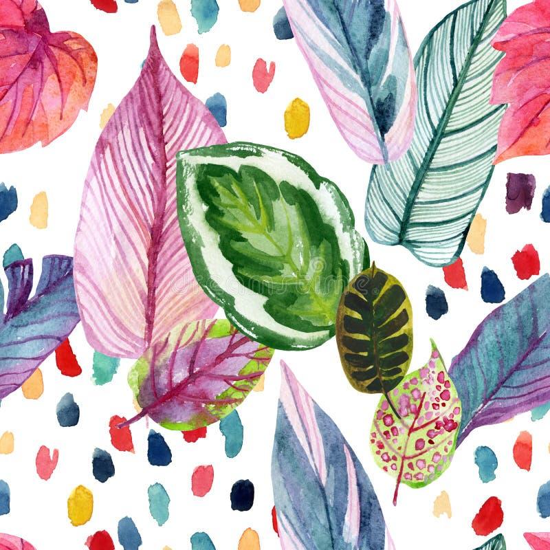 Fundo tropico colorido do verão: folhas da aquarela, pinceladas abstratas no estilo 90s retro ilustração stock