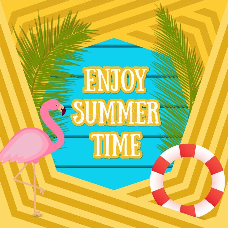 Fundo tropico das férias do verão com pássaro do flamingo Cadeira de plataforma na praia em Brigghton ilustração stock