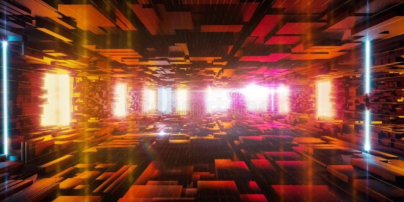 Fundo urbano abstrato, dados grandes, estrutura geométrica, segurança do cyber, computador do quantum, armazenamento, realidade v ilustração do vetor