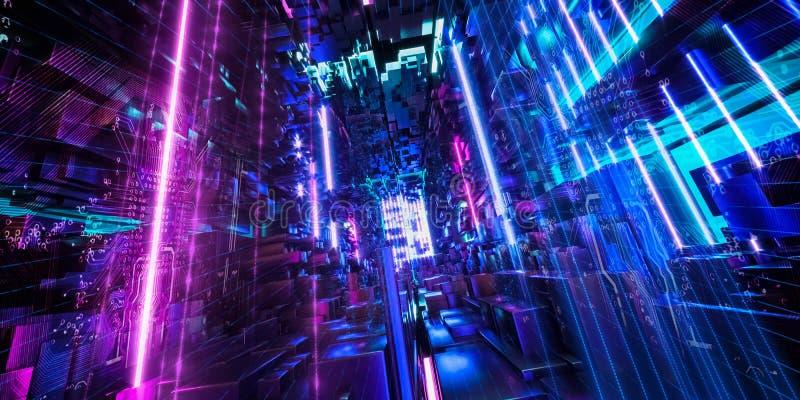 Fundo urbano abstrato, estrutura geométrica, segurança do cyber, computador do quantum ilustração royalty free