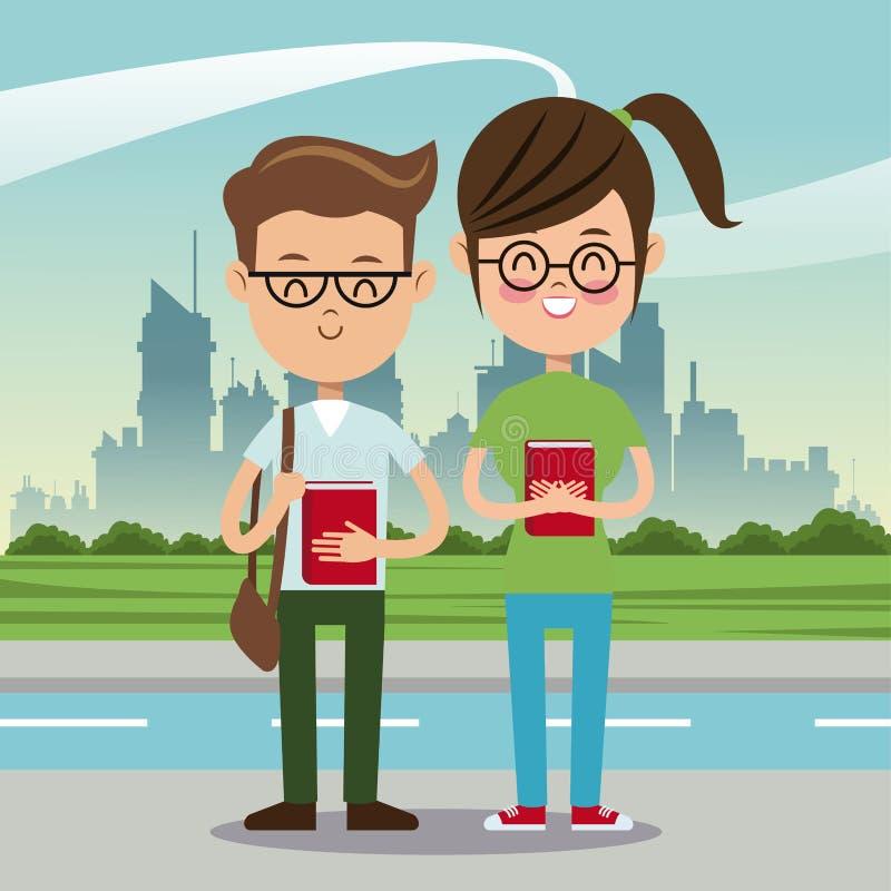 Fundo urbano do lerdo da estudante do menino e ilustração do vetor