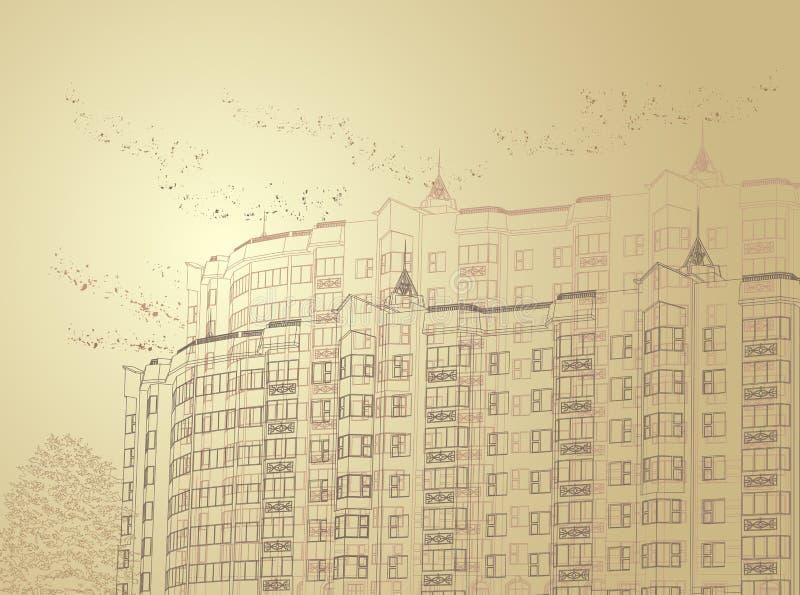 Download Fundo Urbano Do Sepia Arquitectónico Ilustração do Vetor - Ilustração de fundo, bege: 16866802