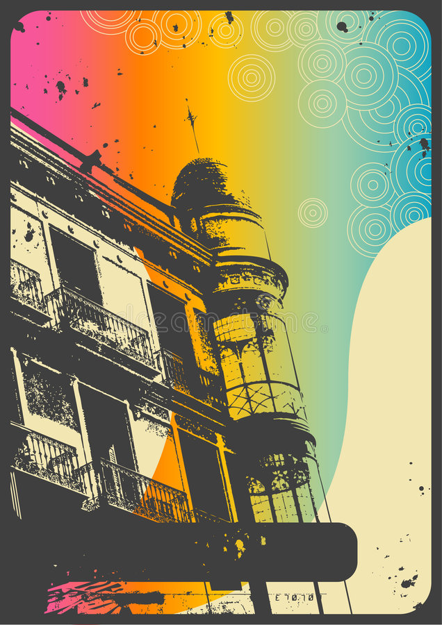 Fundo urbano do vintage ilustração stock