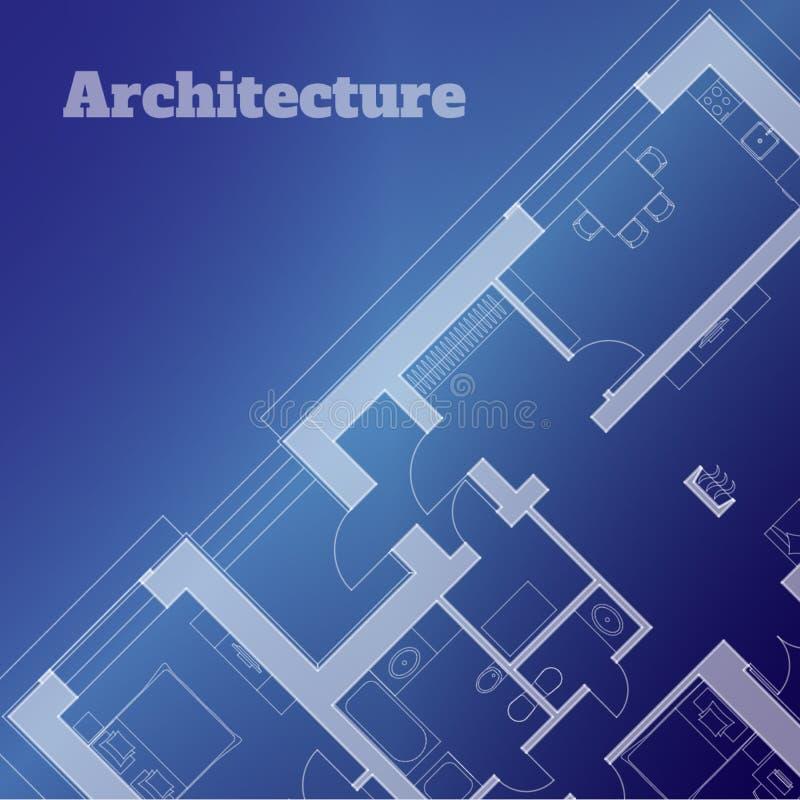 Fundo urbano Parte do projeto arquitetónico, plano arquitetónico de uma construção residencial Ilustra??o do vetor ilustração do vetor
