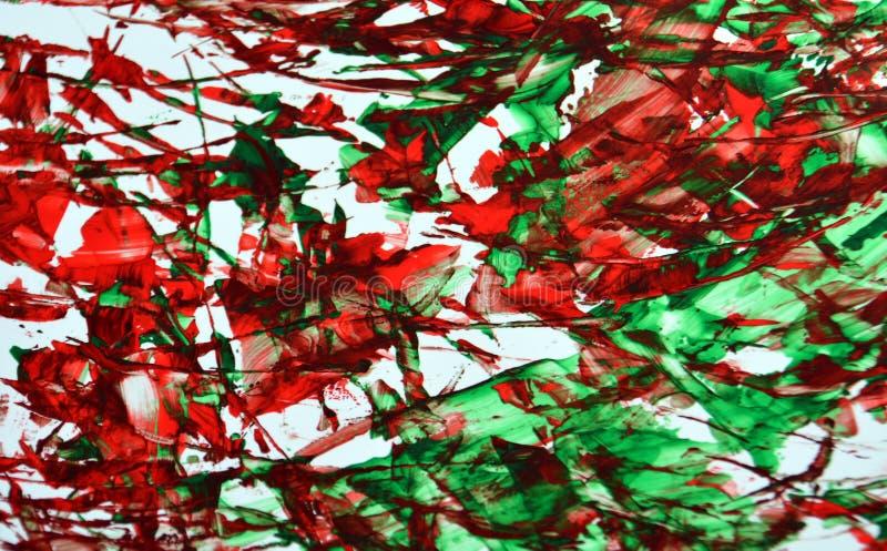 Fundo vívido brilhante, textura e cursos do sumário branco vermelho verde da pintura da escova fotos de stock royalty free