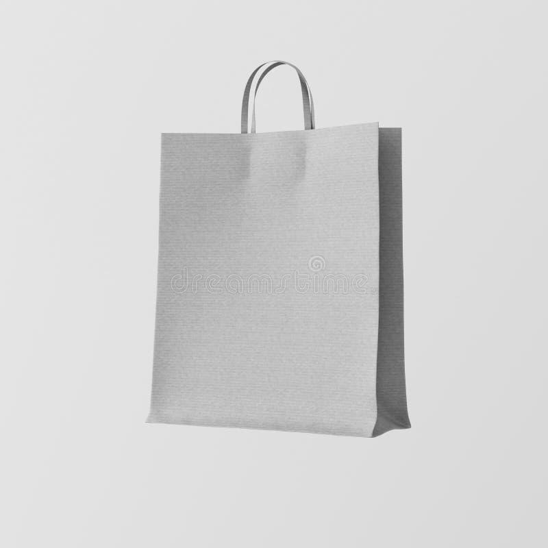 Fundo vazio branco Center de Gray Kraft Paper Bag Isolated do close up Materiais altamente detalhados da textura do modelo Espaço imagem de stock royalty free