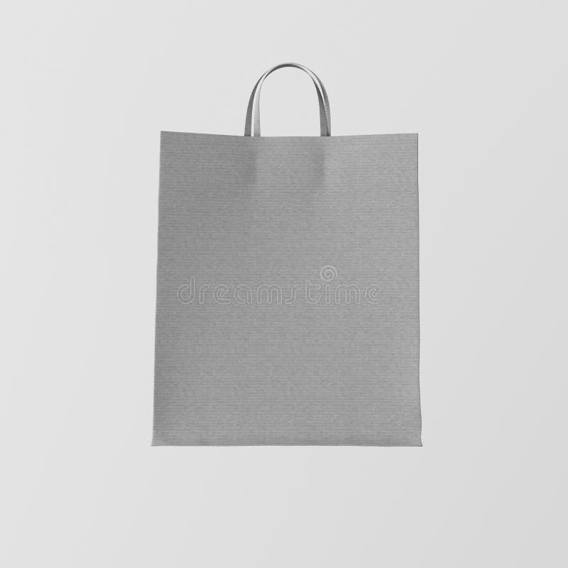 Fundo vazio branco Center de Gray Kraft Paper Bag Isolated do close up Materiais altamente detalhados da textura do modelo Espaço imagens de stock