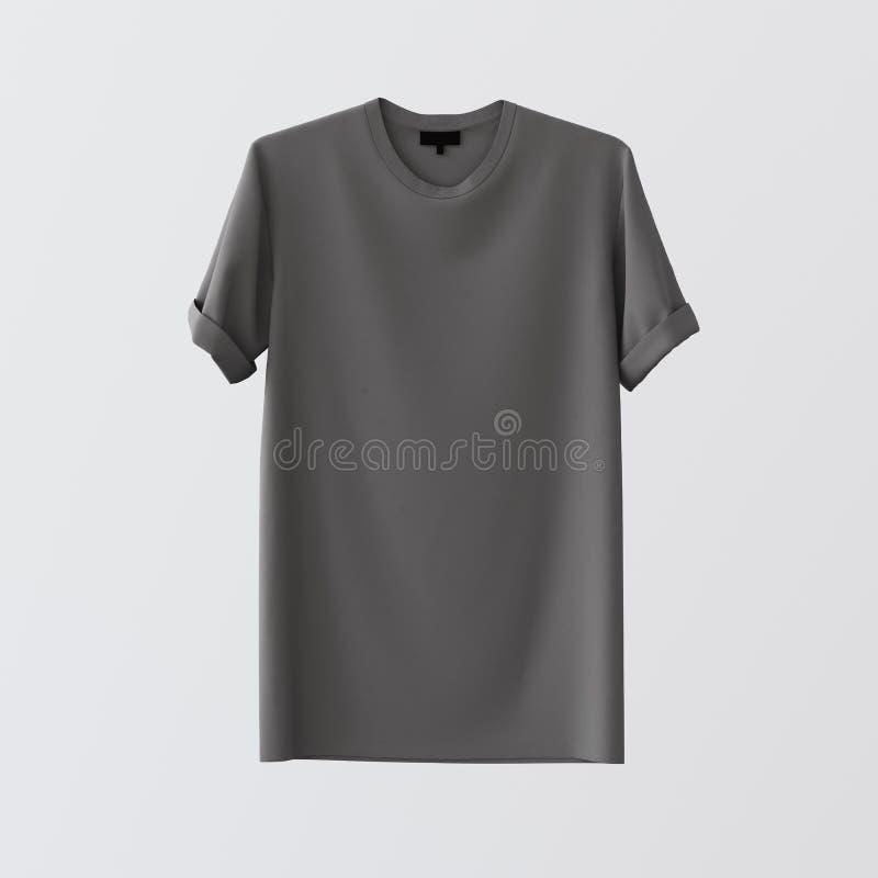 Fundo vazio branco vazio de Gray Textile Tshirt Isolated Center Materiais altamente detalhados da textura do modelo Etiqueta clar foto de stock