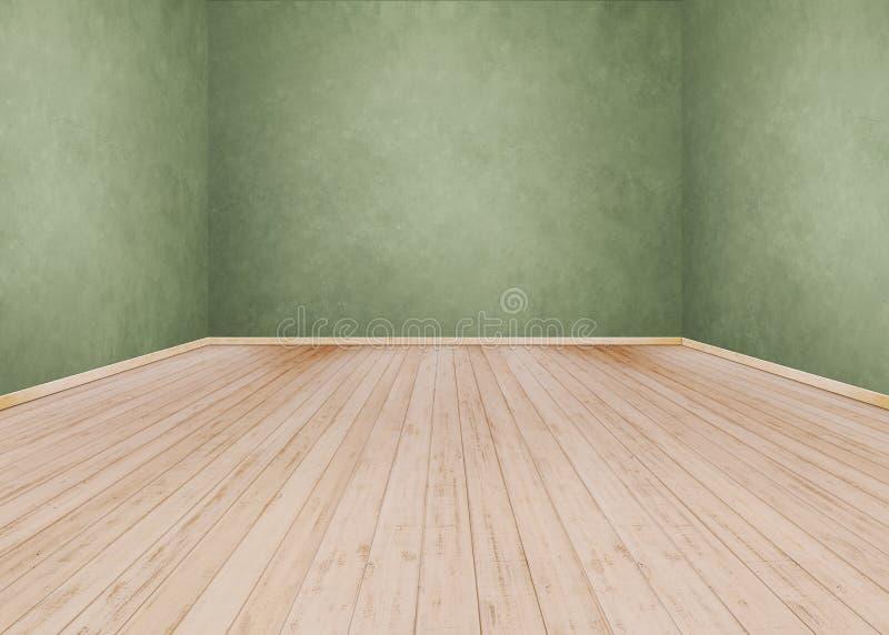 Fundo vazio da sala e parede verde do cimento, assoalho de madeira fotografia de stock royalty free