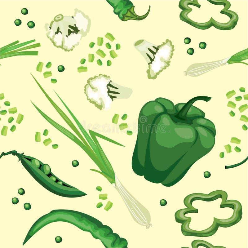 Fundo vegetal verde sem emenda com pimenta doce, ervilhas ilustração stock